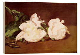 Wood print  Branch of White Peonies and Secateurs - Edouard Manet