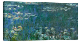 Canvas print  Waterlilies, Green Reflections - Claude Monet
