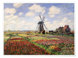 Premium poster Tulip Fields with the Rijnsburg Windmill