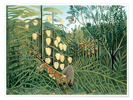Premium poster  Tiger attacks a buffalo - Henri Rousseau