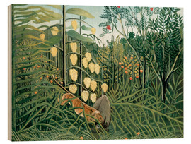 Wood print  Tiger attacks a buffalo - Henri Rousseau