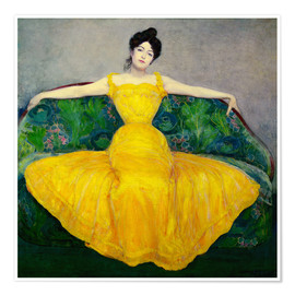 Premium poster Lady in a yellow dress