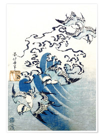 Premium poster  Waves and Birds - Katsushika Hokusai
