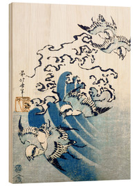 Wood print  Waves and Birds - Katsushika Hokusai