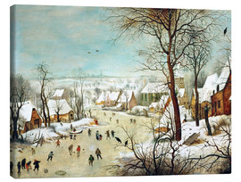 Canvas  Winter Landscape with bird trap - Pieter Brueghel d.Ä.