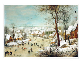 Premium poster  Winter Landscape with bird trap - Pieter Brueghel d.Ä.