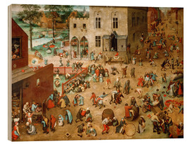 Wood print  Children's Games - Pieter Brueghel d.Ä.