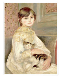Poster  Julie Manet with Cat - Pierre-Auguste Renoir