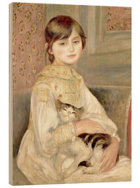 Wood print  Julie Manet with Cat - Pierre-Auguste Renoir