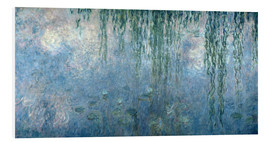 Foam board print  Waterlilies: Morning with Weeping Willows - Claude Monet