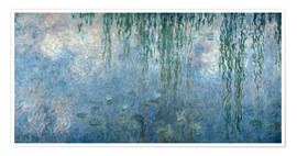 Premium poster  Waterlilies: Morning with Weeping Willows - Claude Monet