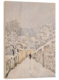 Wood print  Snow at Louveciennes - Alfred Sisley