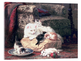 Acrylic glass  Cat with her Kittens on a Cushion - Henriette Ronner-Knip