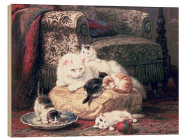 Wood print  Cat with her Kittens on a Cushion - Henriette Ronner-Knip