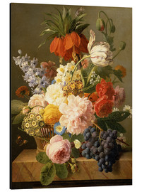 Aluminium print  Still Life with Flowers and Fruit - Jan Frans van Dael