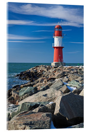 Acrylic glass  Lighthouse on the Baltic Sea coast in Warnemuende (Germany) - Rico Ködder