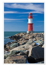 Premium poster  Lighthouse on the Baltic Sea coast in Warnemuende (Germany) - Rico Ködder