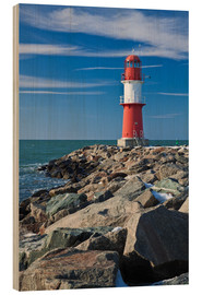 Wood print  Lighthouse on the Baltic Sea coast in Warnemuende (Germany) - Rico Ködder