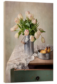 Wood print  Still life with tulips - Nailia Schwarz