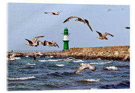 Acrylic glass  Mole with green lighthouse in the Baltic Sea Warnemünde - CAPTAIN SILVA