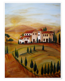 Premium poster  Sunrise in Tuscany - Christine Huwer