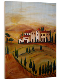 Wood print  Sunrise in Tuscany - Christine Huwer