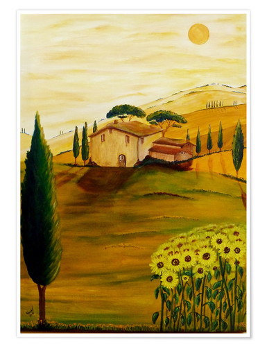 Premium poster Sunflowers in Tuscany