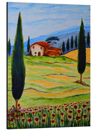 Alu-Dibond  Flowering Poppies of Tuscany 4 - Christine Huwer
