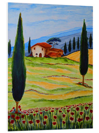Foam board print  Flowering Poppies of Tuscany 4 - Christine Huwer