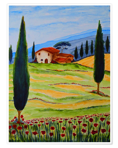 Premium poster Flowering Poppies of Tuscany 4