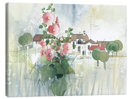 Canvas print  Rural Impression with hollyhocks - Franz Heigl