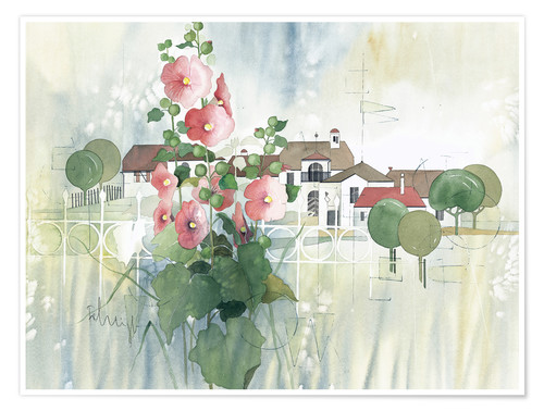Premium poster Rural Impression with hollyhocks