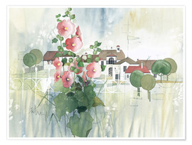 Premium poster  Rural Impression with hollyhocks - Franz Heigl