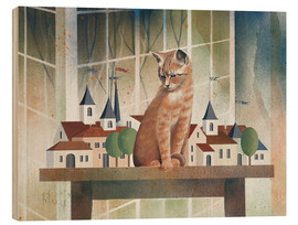 Wood print  View of the cat - Franz Heigl