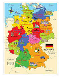 Premium poster German states for children (German)