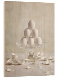 Wood print  Still Life with Eggs - Nailia Schwarz