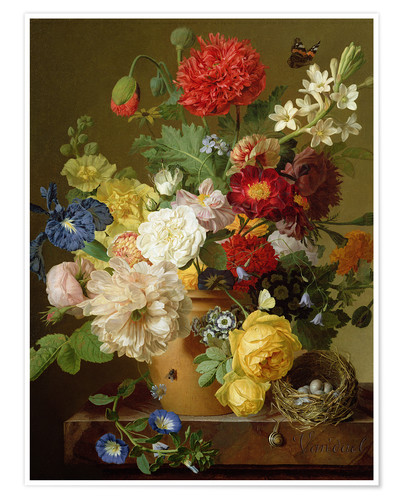 Premium poster Flower Still Life on a marble ledge