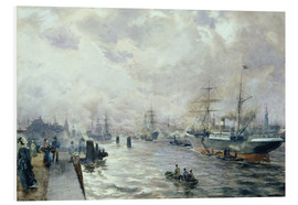 Foam board print  Sailing Ships in the Port of Hamburg - Carl Rodeck