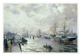Premium poster Sailing Ships in the Port of Hamburg