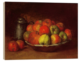 Wood print  Still Life with Apples and a Pomegranate - Gustave Courbet