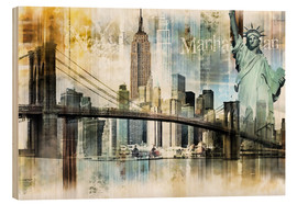 Wood print  New York Skyline I - Städtecollagen