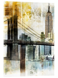 Acrylic glass  Skyline New York Fraktal II - Städtecollagen