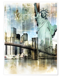 Premium poster  Skyline Manhattan, New York Fraktal - Städtecollagen