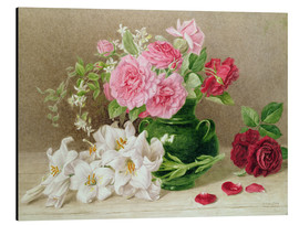 Aluminium print  Roses and lilies - Mary Elizabeth Duffield