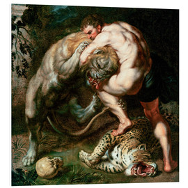 Foam board print  Hercules Fighting the Nemean Lion - Peter Paul Rubens