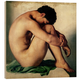 Wood print  Study of a Nude Young Man - Hippolyte Flandrin
