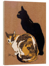 Wood print  Two Cats - Théophile-Alexandre Steinlen