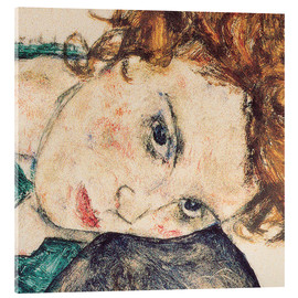Acrylic print  Seated woman with bent knee, detail - Egon Schiele