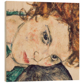 Wood  Seated woman with bent knee, detail - Egon Schiele