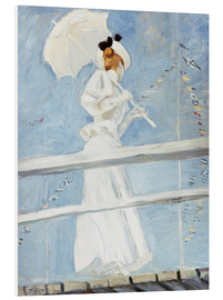 Foam board print  Young woman with umbrella at the pier - Paul Cesar Francois Helleu